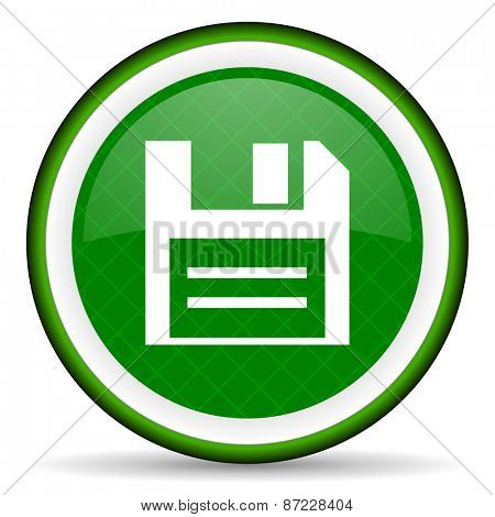disk green icon data sign