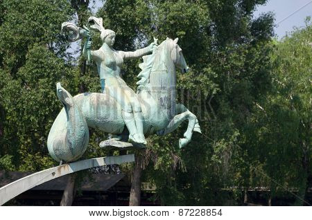 Gyor, Hungary - May 01, 2014: Statue Aquatic Foal By Makrisz Agamemnon In Gyor