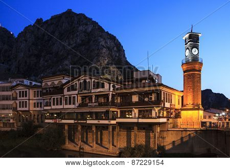 Clock tower view in early morning in Amasya, Turkey