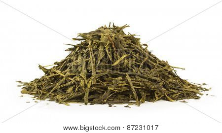 Green tea isolated on white background