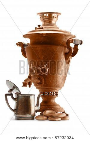 Old Copper Samovar And Teapot