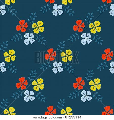 Flowers With Sprigs Of Leaves Vector Seamless Pattern