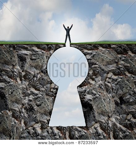 Businessman Standing On Keyhole