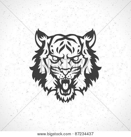 Tiger face logo emblem template mascot symbol for business or shirt design. Vector Vintage Design Element.