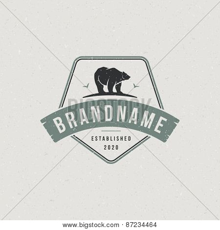 Vintage bear mascot emblem symbol. Can be used for T-shirts print, labels, badges, stickers, logotypes vector illustration.