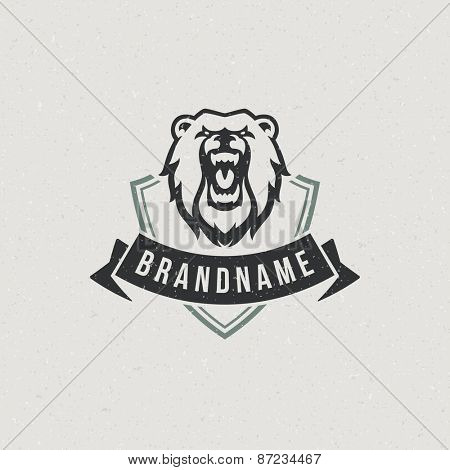 Vintage bear face mascot emblem symbol. Can be used for T-shirts print, labels, badges, stickers, logotypes vector illustration.