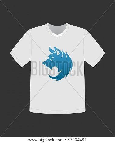 Wolf face emblem template mascot symbol for T- shirt apparel design. Vector Vintage Design Element.