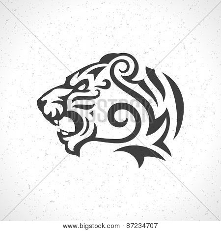 Tiger face logo emblem template mascot symbol for business or shirt design. Vector Vintage Design Element.