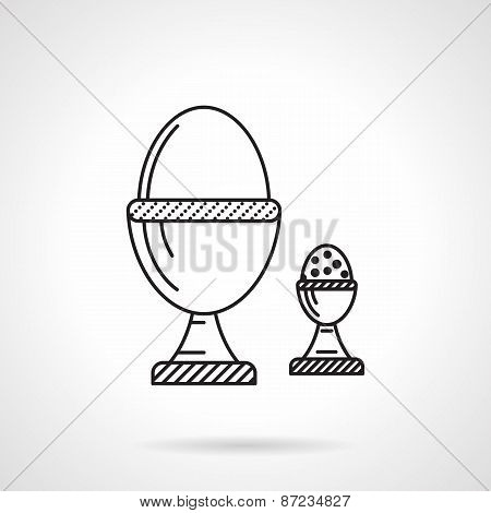 Boiled eggs black line vector icon