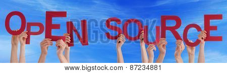 People Hands Holding Red Word Open Source Blue Sky