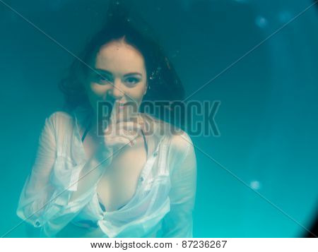 Underwater Girl Wearing Bikini In Swimming Pool