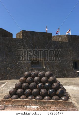 Stack Of Cannon Balls In Castillo San Christobal.