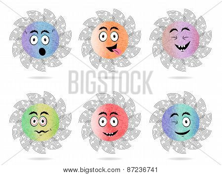 Set, collection, group of six isolated, sun, flat, colorful buttons, icons, signs, labels, stickers