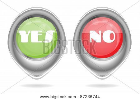 Set, collection of two isolated, oval, metal, red, green icons, buttons with text Yes, No