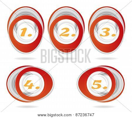 Set, collection of five, isolated, oval, red, metal icons, buttons with orange numbers - one, two, t