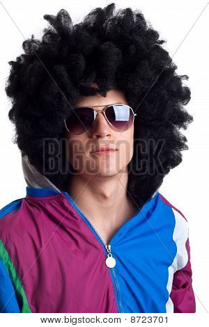 Man Wearing Wig And Sunglasses