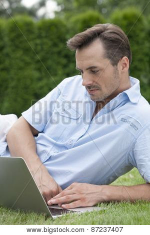 Young man using laptop while lying on grass in park