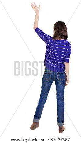 Back view of beautiful woman welcomes. Young girl hand waving from. Rear view  people collection.  backside view of person.  Isolated over white background.