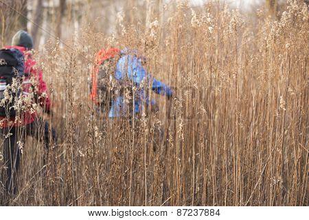 Male backpackers walking in field