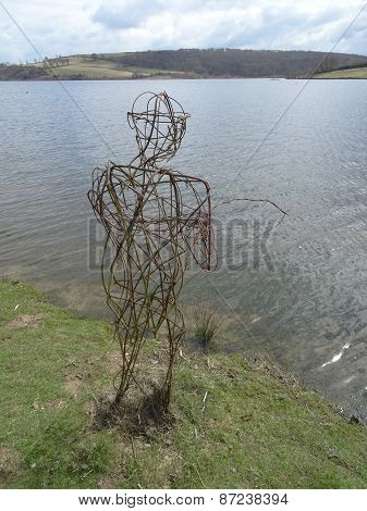 Wicker Fisherman Lakeside View Landscape