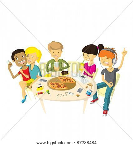 Vector illustration with friends teenagers have fun in pizzeria