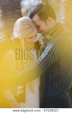 Romantic young couple smiling in park during autumn