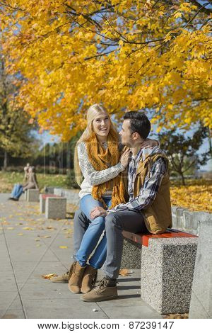 Happy woman sitting on man's lap at park during autumn