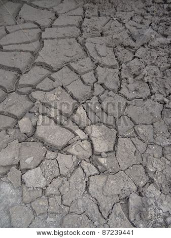 Dried Up Earth With Cracking