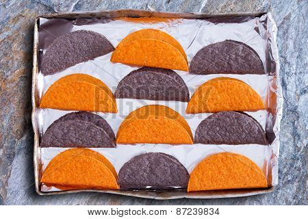 Crunchy Tortillas Waiting To Be Heated In The Oven