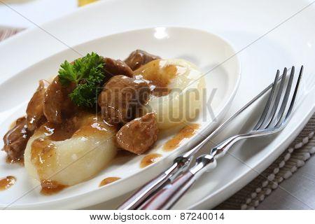 Close up of silesian dumplings
