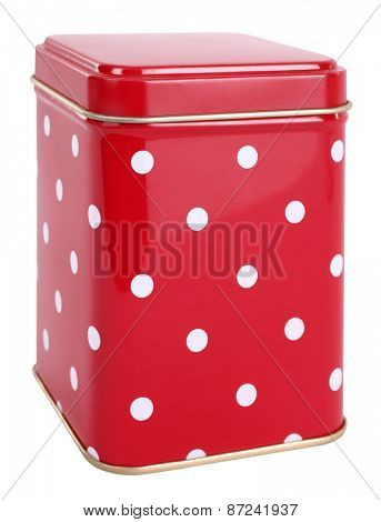 Vintage tin box red with white dots