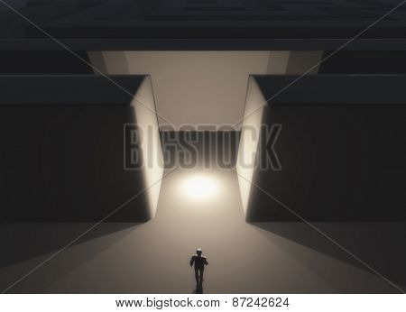 3D render of a male figure stood in front of a maze