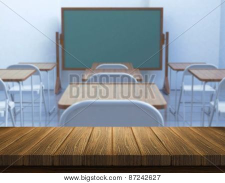 3D render of a wooden table with a defocussed classroom in the background