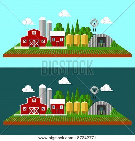 Flat farm landscape with farm equipment