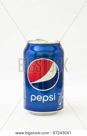 Pepsi can on white background