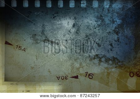 Film negative frames on grungy background