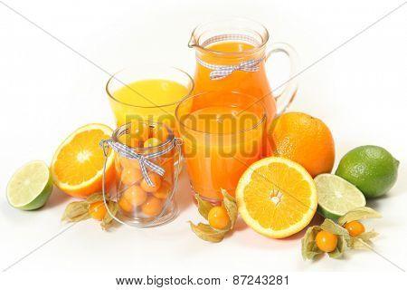 sweet orange juice on white