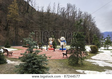 Leopard and Polar bear - 2014 Winter Olympic Games mascots in Rosa Khutor