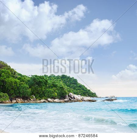 Tropical forest, sea coast and mountains. Siamese bay, Phangan, Thailand.