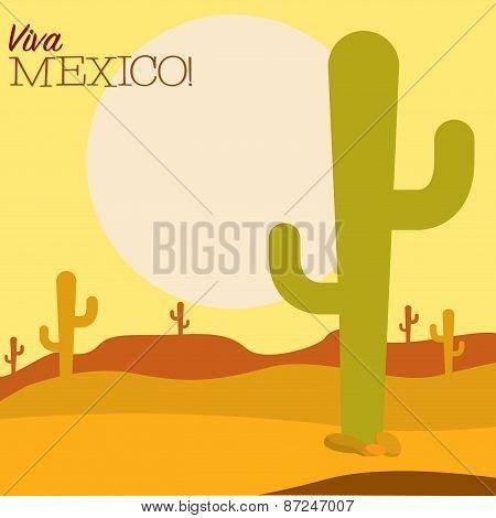 Desert Cinco De Mayo Card In Vector Format.