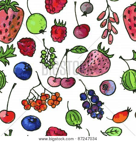 vector seamless pattern with cartoon berries