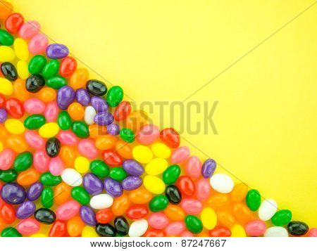 Jelly Beans Frame And Background (yellow Background)