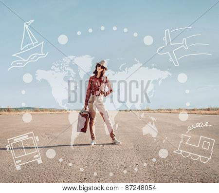 Traveler Girl Stands On Road