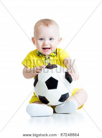 Happy Baby Boy With Foot Ball Isolated