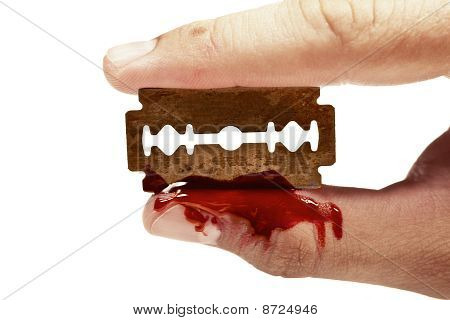 Fingers Keep The Old Rusty Razor With Blood