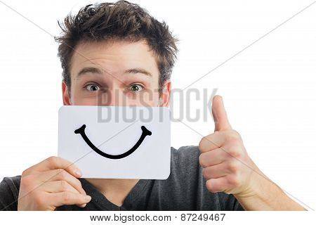 Happy Portrait Of Someone Holding A Smiling Mood Board