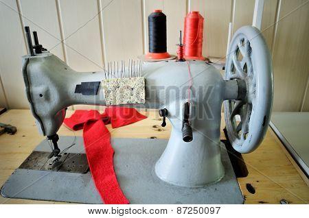 Handwheel Old Sewing Machine. Horizontal