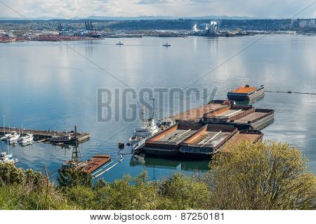 Barges Near Port Of Tacoma