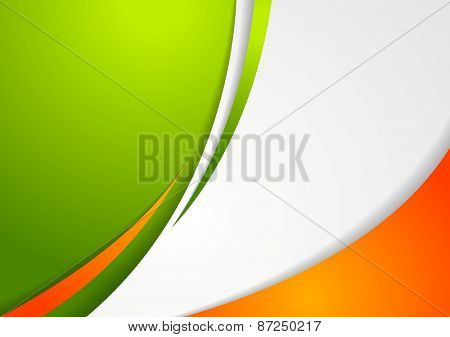 Corporate wavy abstract background. Irish colors. Vector design