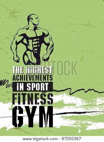 Bodybuilding and fitness gym. Vector illustration.